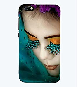 Printvisa Premium Back Cover Girl With Green Eyelashes Design For Huawei Honor 4X::Huawei Glory Play 4X