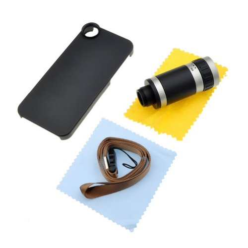 8X Zoom Optical Lens Camera Telescope W/ Matte Back Case For Iphone 5 - Black