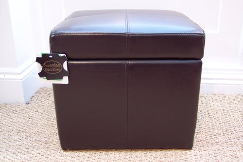 Genuine BRAND NEW 100% Real Leather BROWN Small Ottoman box seat foot stool