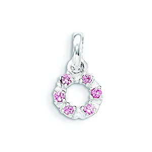 Sterling Silver Pink And White Cz Kid's Circle Pendant
