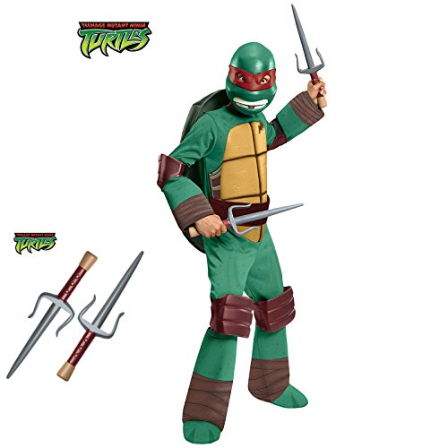 Deluxe Raphael Costume for Kids with Sais - Medium