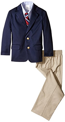 IZOD Little Boys' Solid Twill Duo Set, Navy, 05 Regular