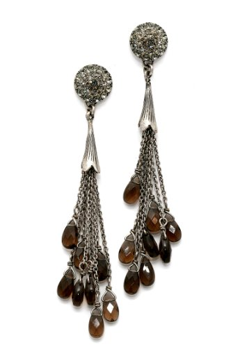 .925 Sterling Silver Plated Irresistible Earrings from 'Release' Collection by Amaro Jewelry Studio Adorned with Suspended Tear Drops, Labrador, Hematite, Pyrite, Black Tahiti Pearls and Swarovski Crystals