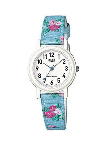 "Casio Women'S Leather/Fabric Blue ""Floral"" Analog Watch Lq-139Lb-2B2"