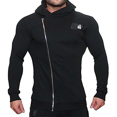 broki Mens GMY Fitness cerniera Felpe con cappuccio-Casual Giacca Outwear Felpa con cappuccio, Zip Up modale Black Large