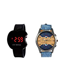 COSMIC MULTICOLOR ANALOG WATCH WITH FREE APPLE LED WATCH FOR MEN & BOYS.