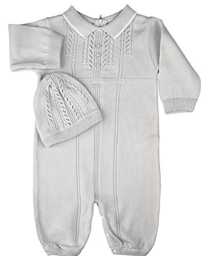 Feltman Brothers Infant Boys Knit Special Occasion Sweater Romper and Hat (White, Newborn)