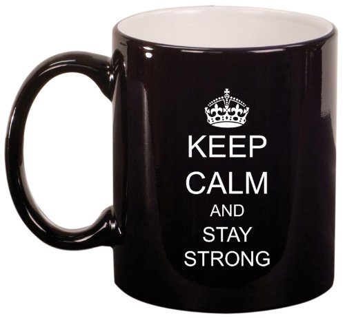 Black Ceramic Coffee Tea Mug Keep Calm And Stay Strong Crown