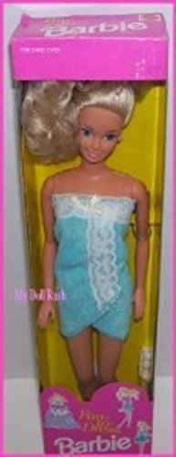 1992 Fun to Dress Blue Bath Towel Wrap Barbie Doll