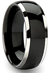 Sale! King Will 8mm Black Tungsten Carbide Ring Wedding Engagement Band Domed Bright Polished Finish