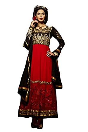 Lajo Fashion Womens Self Print Unstitched Salwar Suit Dress Material  Hiba 1 _Red Black _Free Size  available at Amazon for Rs.2100