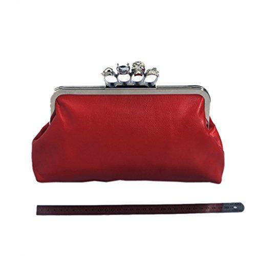 SODIAL(R) Femmes Pochette Sac de Soiree Crane Charnon Anneaux Chaine Sac a Bandouliere Partie Sac a main pur Rouge