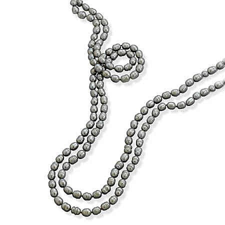 64 Inch Knotted Silver Cultured Freshwater Pearl Necklace