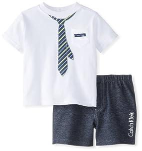 Calvin Klein Baby-Boys Infant Tee with Short Tie from Calvin Klein
