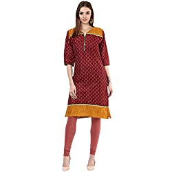 Drapes Womens Brown Cotton Printed Kurti 3/4 Sleevees (DK0007, Brown, XL)