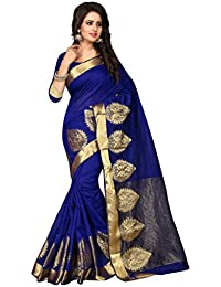 Shree Sanskruti Self Design Poly Cotton Blue Color Saree For Women With Blouse Piece