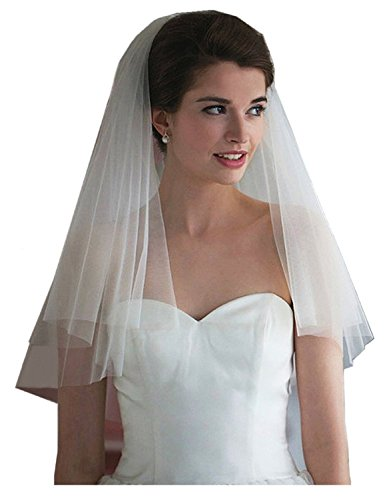 Gracekiki Bridal Veils 2T Soft Tulle Veils New Wedding Veils for Brides with Comb (White)