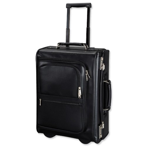 Alassio Trolley Pilot Case Multi-section 2 Combination Locks Leather-look Black Ref 45040