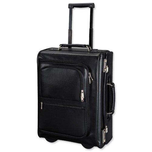 Alassio Trolley Pilot Case Multi-section 2 Combination Locks Leather-look Black Ref 45040