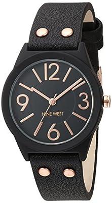 Nine West Women's Quartz Metal and Polyurethane Dress Watch, Color:Black (Model: NW/1932BKRG)