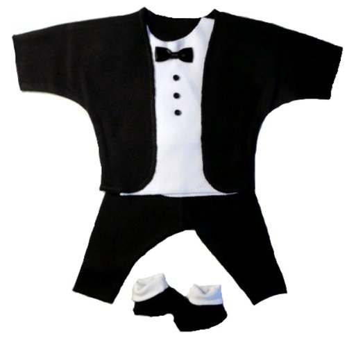 Black and White Baby Tuxedo Suit , Newborn 0-3 Months to 12 lbs