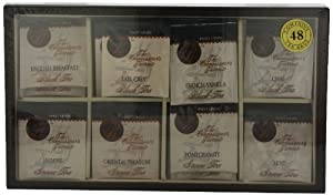 Boston Tea 48-Count Window Top Wooden Tea Chest, 48 Teabag Set
