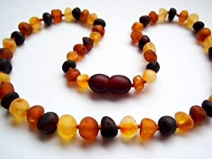 The Art of CureTM *SAFETY KNOTTED* Raw Multicolored- Certified Baltic Amber Baby Teething Necklace - w/The Art of Cure Jewelry Pouch (SHIPS AND SOLD IN THE USA) by The Art of Cure