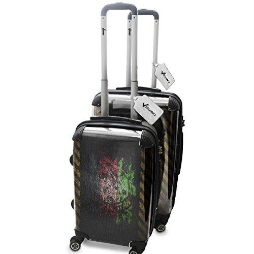 Drapeaux Signés Afganistan, 2 pièce Set Luggage Bagage Trolley de Voyage Rigide 360 degree 4 Roues Valise avec Echangeable Design Coloré. Grandeur: Adapté à la Cabine S, M