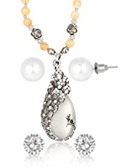 BIG Tree Pearl And Opal Earring Necklace Combo For Women. - B013OQKM40