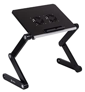 "[Limited Edition] Pwr+ Portable Laptop-Table-Stand Fully Adjustable-Ergonomic Mount-Ultrabook-Macbook Light Weight Aluminum-Black Bed Tray Desk Book Fans Up to 16"" by PWR+"