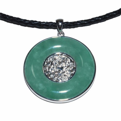 Sterling Silver Round Jadeite Disc Pendant Necklace with Dragon Filigree on Braided Leather Cord, 18