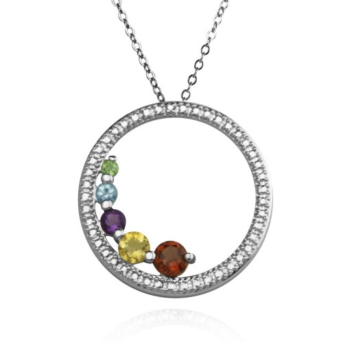 Sterling Silver Multi-Gemstone and Diamond Accent Circle Pendant Necklace , 18