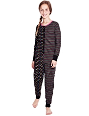 Pure Cotton Striped & Spotted Onesie