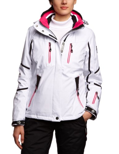 Killtec Damen Soft Shell Jacke Mit Abzipbarer Kapuze Sesi, weiß/schwarz/pink, 38, 20743-000