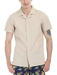 Zobello Men's Solid Camp Linen Shirt(11088A_Lemon Chiffon_X-Small)