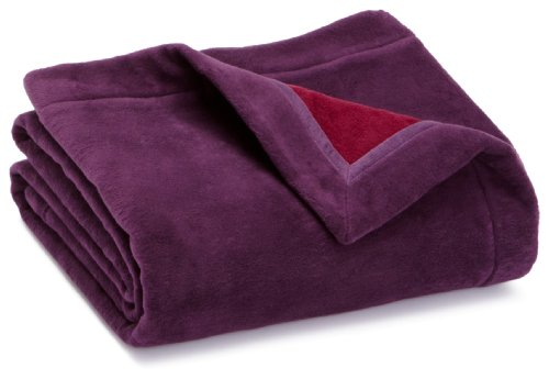 Ibena Solare Double Face Blanket with Wide Hem, Plum/ Purple,140 X 200 cm