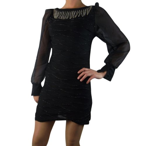 Ladies Mini Dress Top Chiffon Longsleeved Womens Cocktail Club Party Sexy