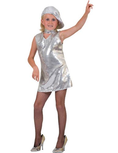 Disco Dress Child Silver Lg Kids Girls Costume - Funny Fashions
