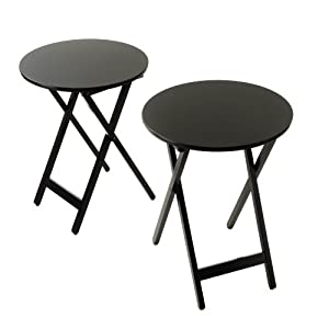 Bay Shore Collection Round Folding Bistro Tray Table 19.75-Inch Diameter, 2-Piece Black