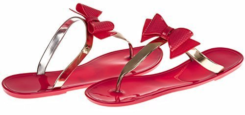 Chatties Ladies Jelly Sandal With Metallic Bow - Coral / Gold, Size 9 / 10 (More Colors and Sizes Available) (Heeled Jelly Sandals compare prices)