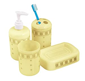 4 piece bathroom accessories set beige and for Beige bathroom accessories set