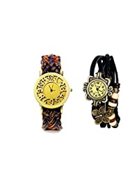 COSMIC BROWNISH STRAP WITH ORANGE SHADE LEATHER WOMEN WATCH WITH FREE BLACK BRACELET WATCH- SET OF 2 ANALOG WATCH