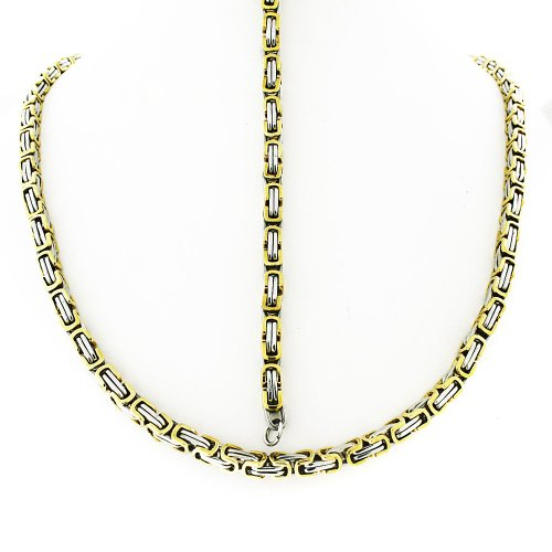 Men's Stainless Steel Two Tone Byzantine Bracelet 8