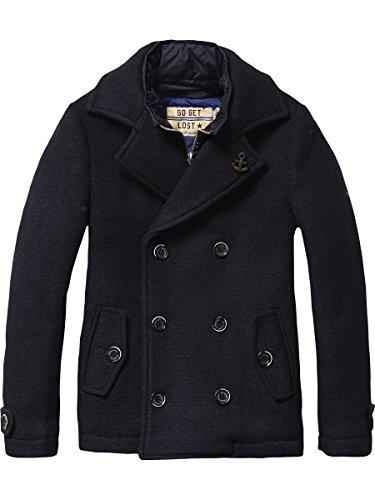 Scotch Shrunk Wollelen Caban with Fake Inner Nylon Jacket, Giacca Bambino, Schwarz (Night 002), 152