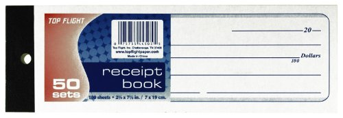 Top Flight Money Receipt Book, with Carbon, 2.875 x 8.4 Inches, 50 Sets per Book (4554506)