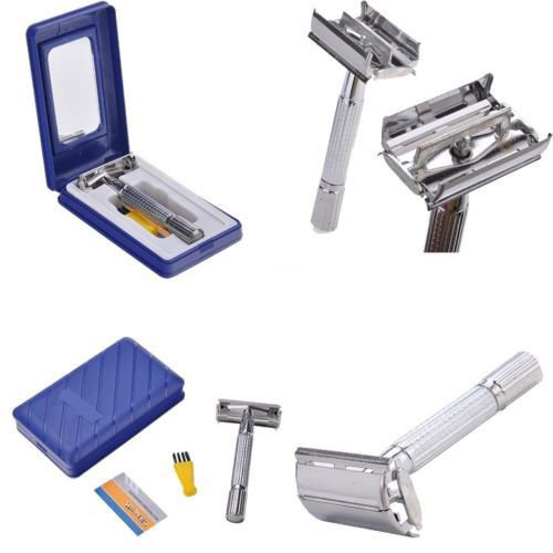 Retro Vintage Classic Double Edge Safety Razor with 1 Razor Blades Mirror Case