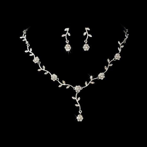 Silver Clear Floral Rhinestone Crystal Bridal Wedding Necklace Earring Set