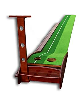 Double Sky Wooden Putting Mat Automatic Ball Return Golf Putting Green by Double Sky