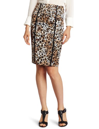 XOXO Juniors Piped Print Pencil Skirt, Brown, 11/12 Image