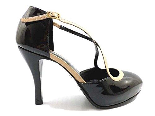 scarpe donna GUIDO SGARIGLIA 37,5 EU decolte nero beige vernice AY111